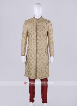 Men Golden Color Sherwani