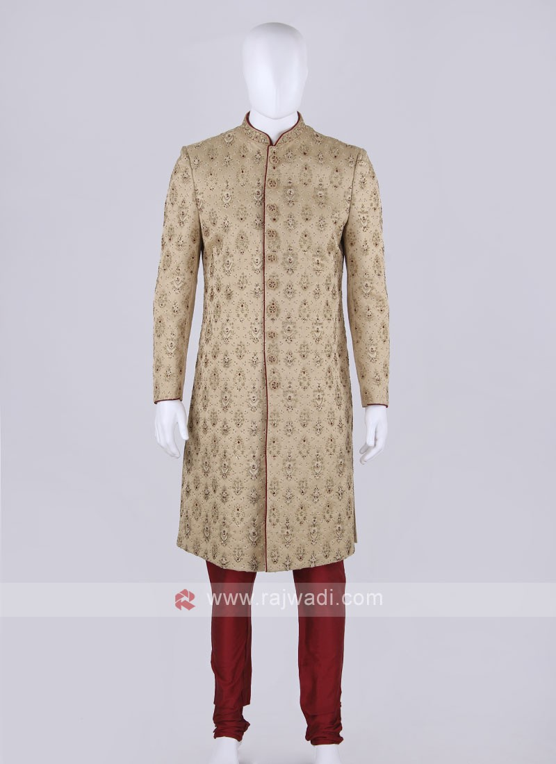 Men Golden Color Sherwani