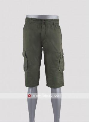 Men green color cotton shorts