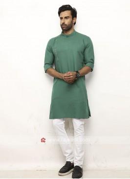 Men Green Colour Solid Kurta
