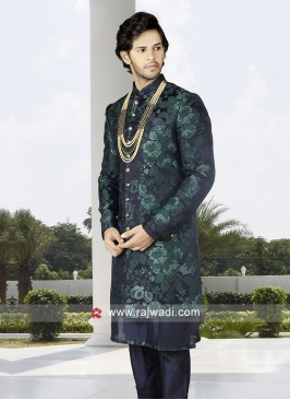 Men Green-Navy Blue Indo-Western