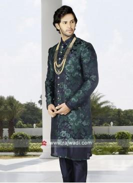 Men Green-Navy Blue Indo-Western