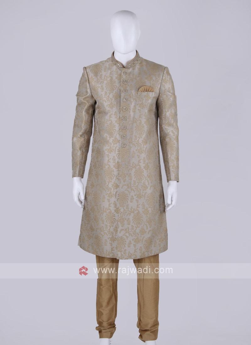 Men Grey Color Sherwani