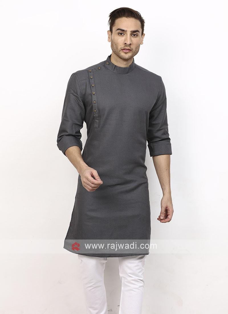 Men Grey Colour Solid Kurta