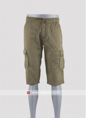 Men khakhi color cotton shorts