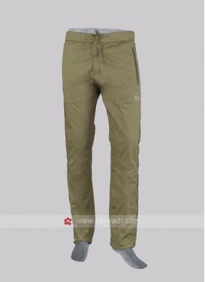 Men khaki cotton track pants