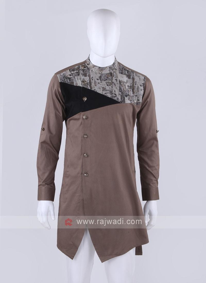 Men Khaki & Black Printed Kurta