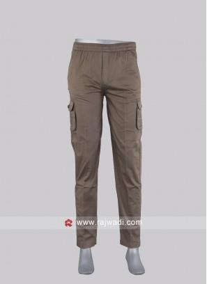 Men khaki cotton cargo pants