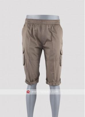 Men khaki Solid night shorts
