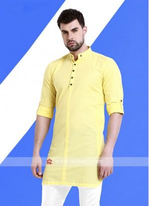 Men Lemon Yellow Colour Solid Kurta