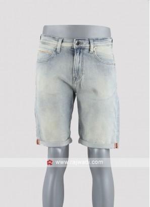 Men light blue denim shorts