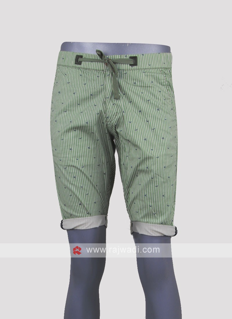 Men light olive color chino shorts