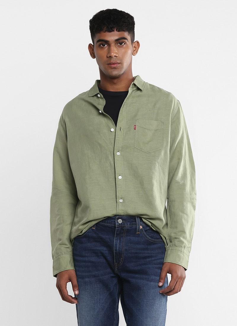 Levi's Men Light Olive Slim Fit shirt