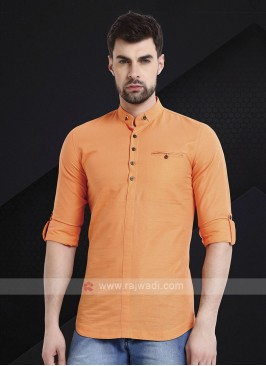 Men Light Orange Solid Short Kurta