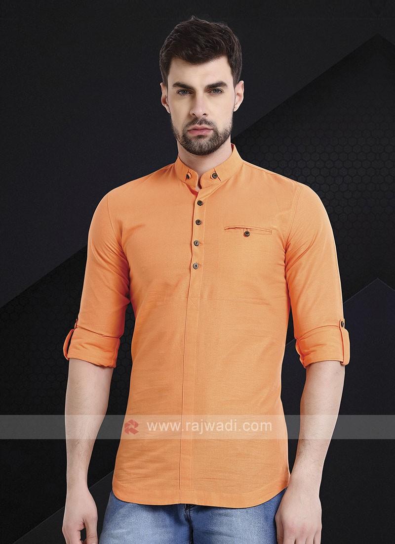 Men Light Orange Solid Short Kurta