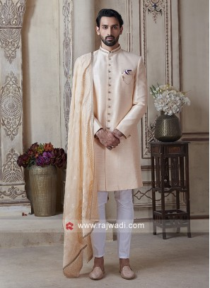 Men Light peach & Off-white Sherwani With Stole