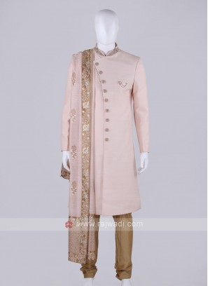 Men Light Peach Indo-Western With Stole