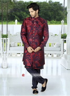 Men Maroon- Navy Blue Indo-Western