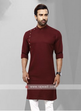 Men Maroon Solid Kurta
