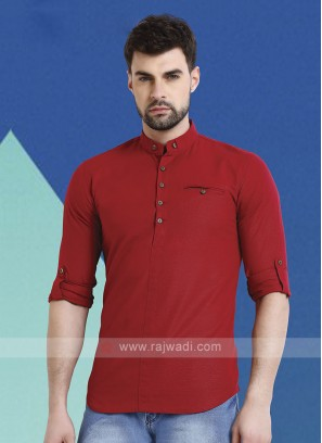 Men Maroon Solid Short Kurta