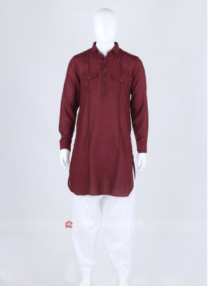 Men Maroon & White Solid Pathani Suit