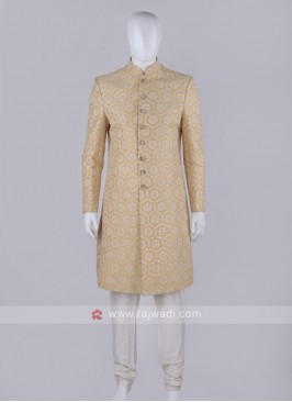 Men Mustard Yellow Color Sherwani