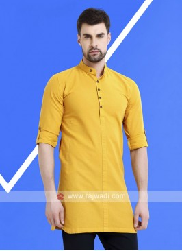 Men Mustard Yellow Solid Kurta