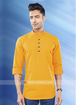 Men Mustard Yellow Solid Short Kurta