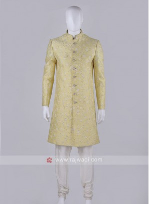 Lemon yellow Coloured Sherwani