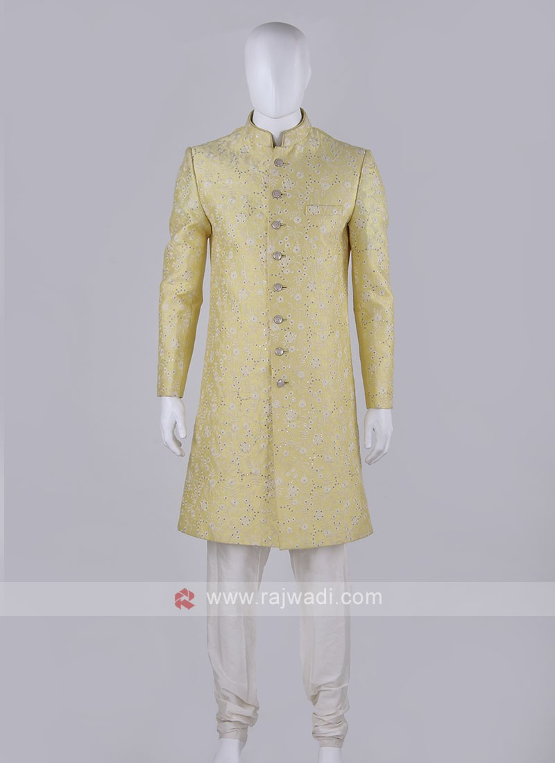Lemon yellow Coloured Sherwani