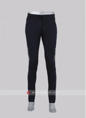 Men navy blue slim-fit track pants