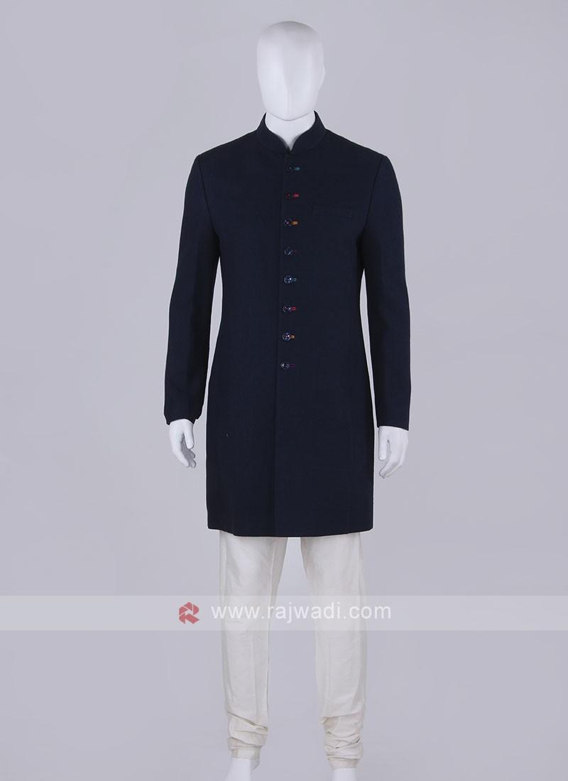 Men Navy Blue Solid Indo-Western