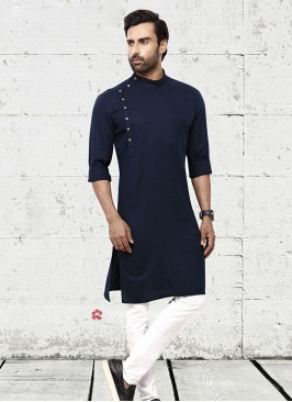Men Navy Blue Solid Kurta