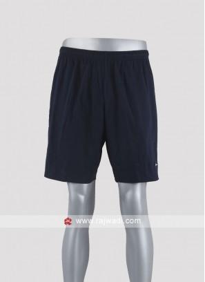 Men navy blue solid shorts