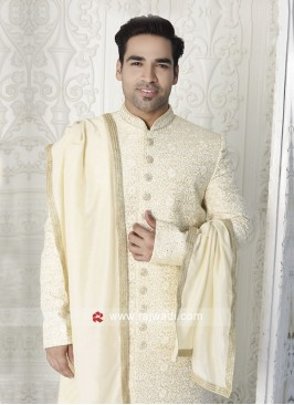 Men Off-White Color Sherwani With Stole