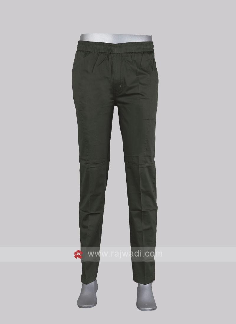 Men olive cotton track pants