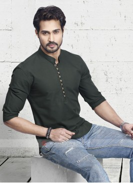 Men Olive Green Solid Short Kurta