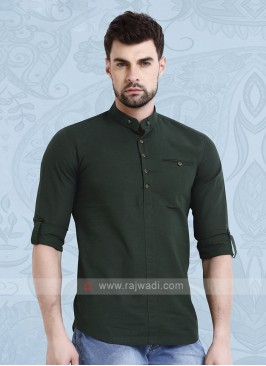Men Olive Solid Short Kurta