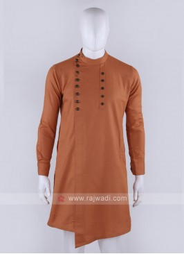 Men Orange Solid Kurta