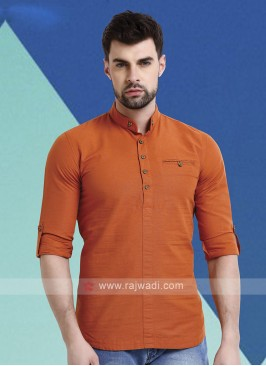 Men Orange Solid Short Kurta