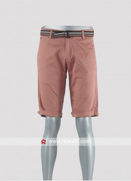 Men peach color Chino shorts