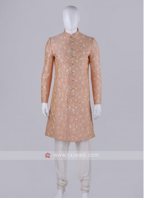 Men Peach Color Sherwani