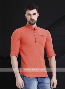 Men Peach Solid Short Kurta