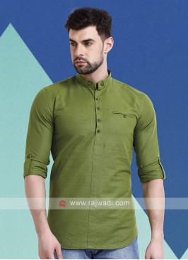 Men Pista Green Short Kurta