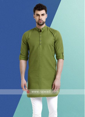 Men Pista Green Solid Kurta