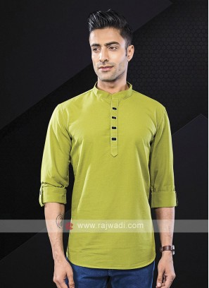 Men Pista Green Solid Short Kurta