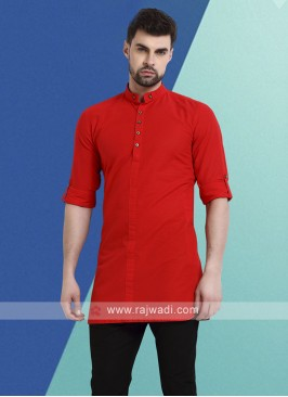 Men Red Colour Solid Kurta