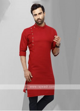 Men Red Colour Solid Kurta