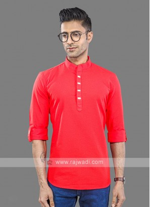 Men Red Solid Short Kurta