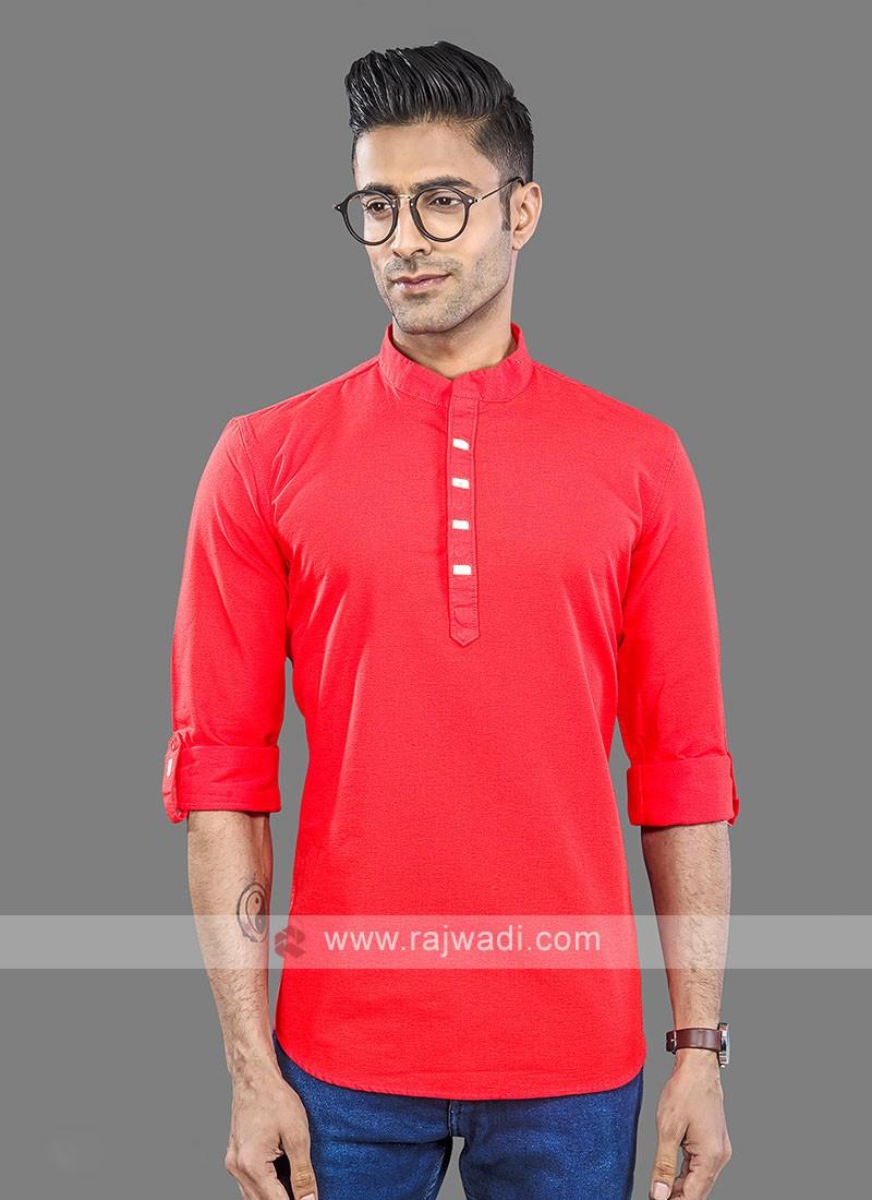 Men Red Solid Short Kurta
